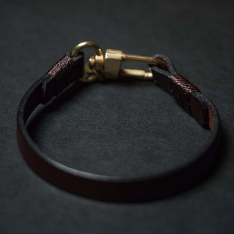 CAPUTO CLEAN LEATHER BRACELET BROWN - THE LODGE  - 1