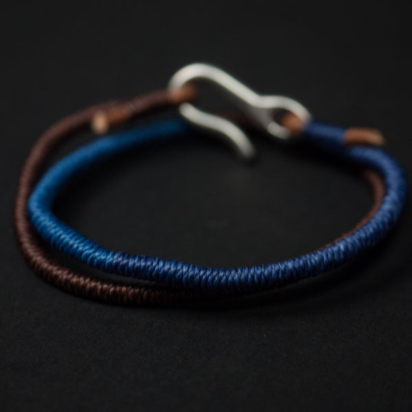 BLUE/BROWN TRIPLE DOUBLE HAND-WRAPPED BRACELET