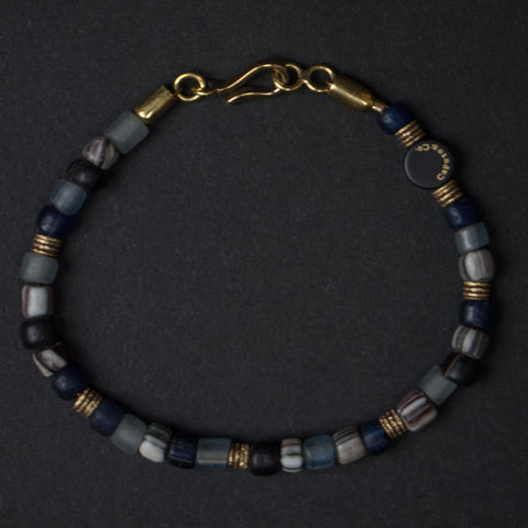 Caputo Grey Glass and Brass Beaded Bracelet at The Lodge