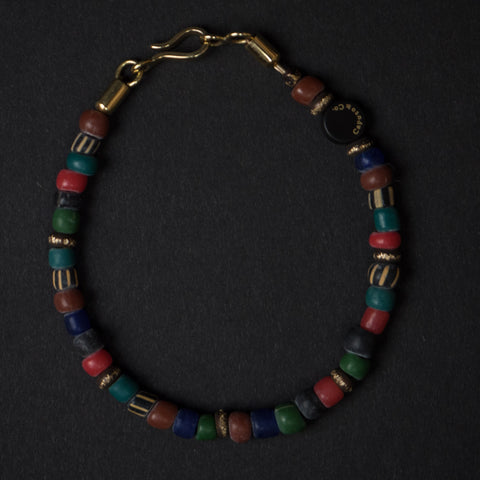 Caputo Multi Color Glass and Brass Bead Bracelet at The Lodge