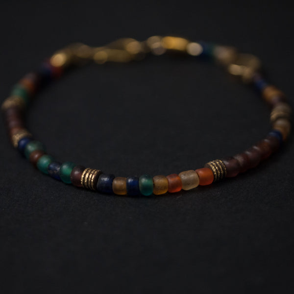 Caputo & Co Brown Fiji Glass and Brass Beaded Bracelet at The Lodge