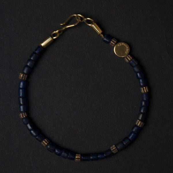 Caputo Navy Beaded Brass and Glass Bracelet at The Lodge