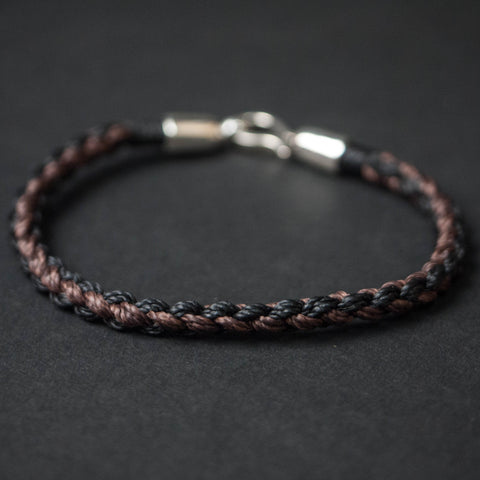 BROWN/BLACK MORICHES HAND-BRAIDED NYLON BRACELET