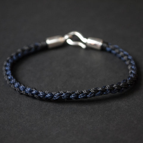 NAVY/BLACK MORICHES HAND-BRAIDED NYLON BRACELET