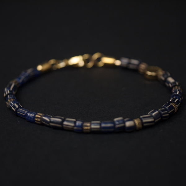 Caputo Recycled Stripe Beads Bracelet Navy at The Lodge