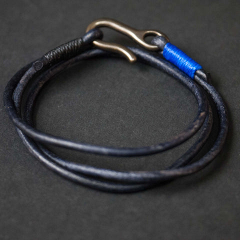 NAVY THREE-PEAT WASHED LEATHER TRIPLE WRAP BRACELET