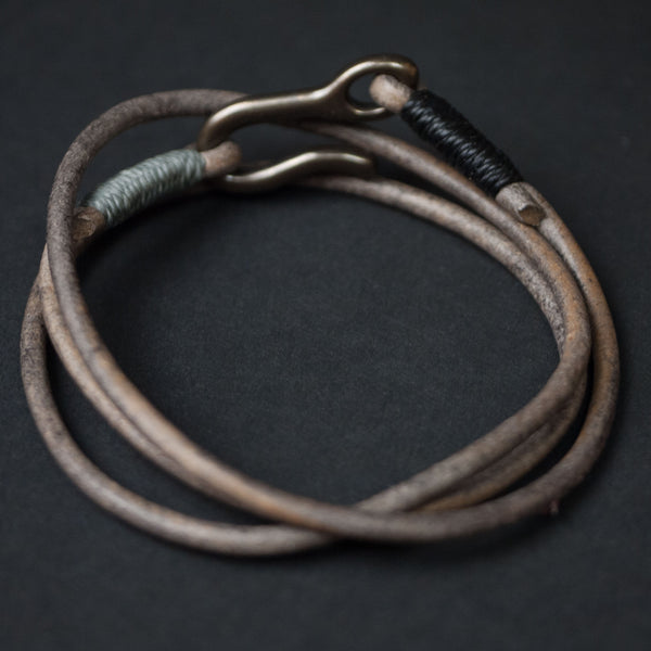 Caputo & Co Grey Leather Triple Wrap Bracelet at The Lodge