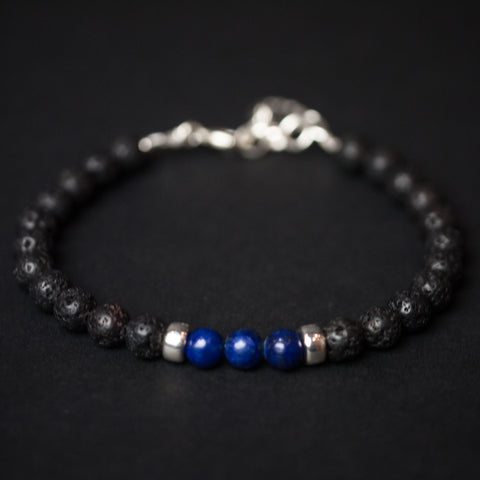 CAPUTO LAPIS LAZULI & STERLING UBUD BRACELET - THE LODGE  - 3
