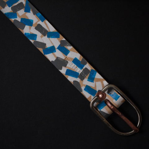 Cause & Effect Blue Confetti Painted Leather Belt at The Lodge