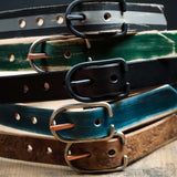 HUNTER GREEN PAINTED LEATHER BELT - THE LODGE  - 9