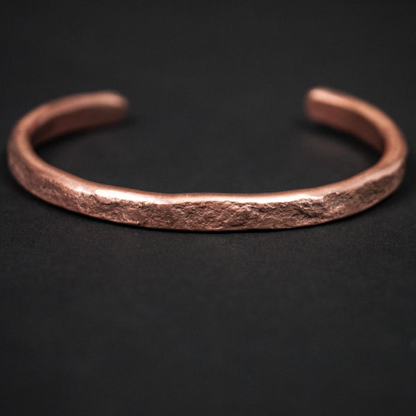 SMASHED & WEATHERED COPPER BAR CUFF THIN - THE LODGE  - 1