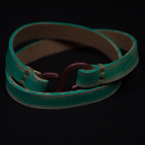 DEUCE DOUBLE WRAP LEATHER BRACELET TURQUOISE - THE LODGE  - 1
