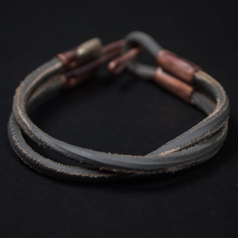 Cause & Effect Double Ace Grey Leather Men's Bracelet at The Lodge