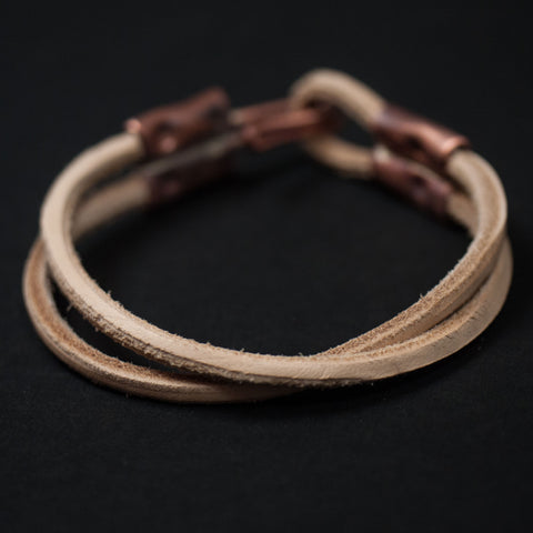 Cause & Effect Double Ace Leather Bracelet Natural at The Lodge