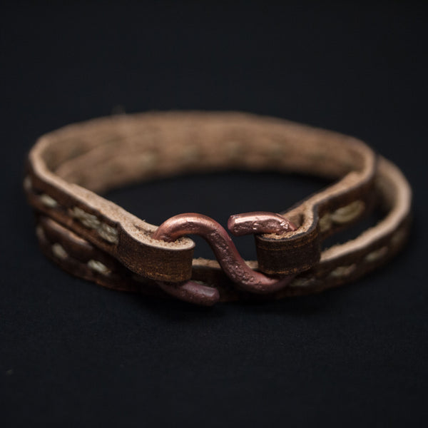 Cause & Effect Hitch Stitched Double Wrap Leather Bracelet at The Lodge