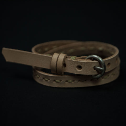 Cause Effect Old Hickory Double Wrap Stitched Leather Bracelet Natural at The Lodge