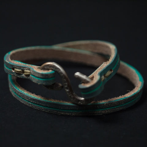 RAZZLE-DAZZLE LEATHER WRAP BRACELET TURQUOISE/GREY - THE LODGE  - 1