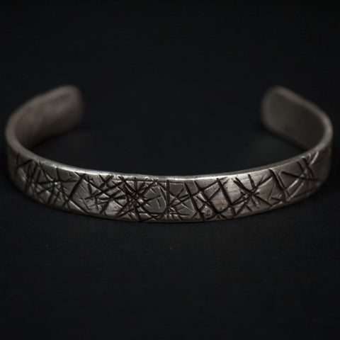 STERLING SILVER BAR CUFF WITH CROSSES - THE LODGE  - 1