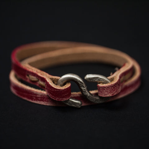 Cause & Effect Triumph Double Wrap Leather Bracelet Red at The Lodge
