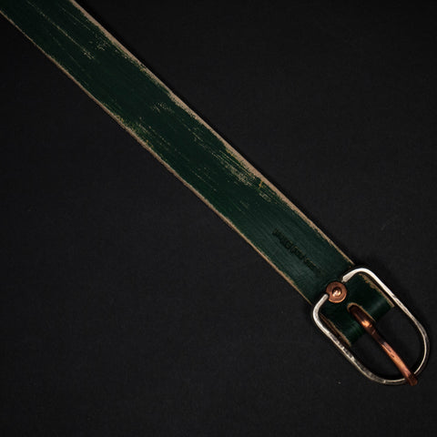 HUNTER GREEN PAINTED LEATHER BELT - THE LODGE  - 1