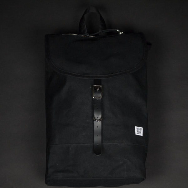 CHESTER WALLACE SCOUT PACK  BLACK WAXED CANVAS - THE LODGE  - 1