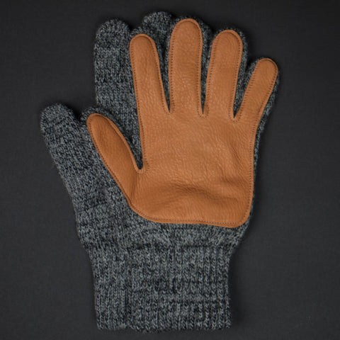 Cold Spring Deerskin Wool Gloves Charcoal with Tan at The Lodge
