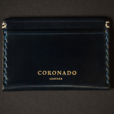 Coronado Leather Navy Cordovan Slim Card Wallet at The Lodge