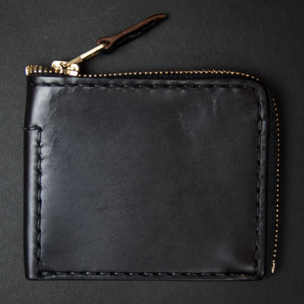 Coronado Leather Horween Zip Wallet Black at The Lodge