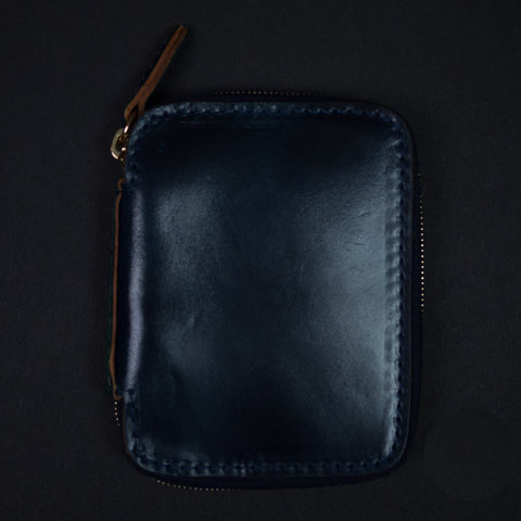LAULOM NAVY SHELL CORDOVAN FULL ZIP WALLET