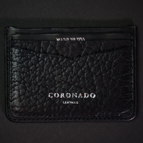 Coronado Leather Black Bison Leather Card Wallet at The Lodge