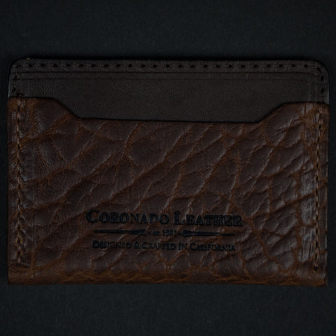CORONADO BISON LEATHER CARD WALLET SADDLE - THE LODGE  - 1