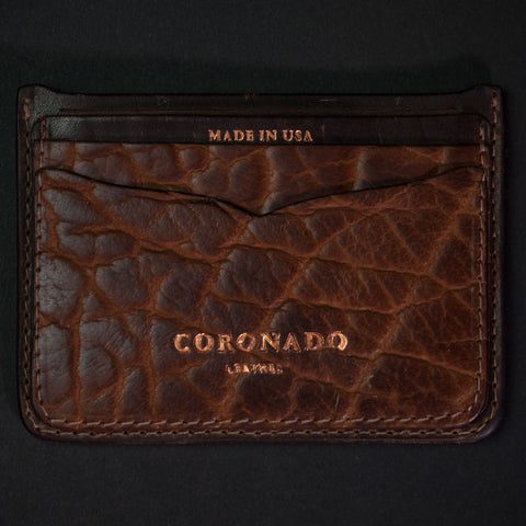 Coronado Leather Bison Leather Card Wallet Walnut at The Lodge