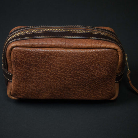 Coronado Leather Walnut Bison Leather Dopp Kit at The Lodge