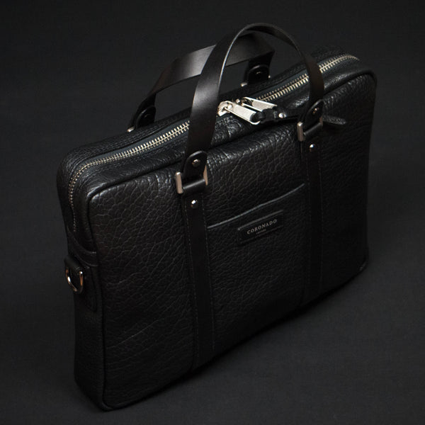 Coronado Bison Leather Briefcase Black at The Lodge