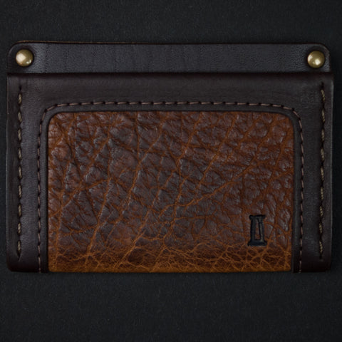 Coronado Leather Walnut Bison Leather Card Wallet at The Lodge