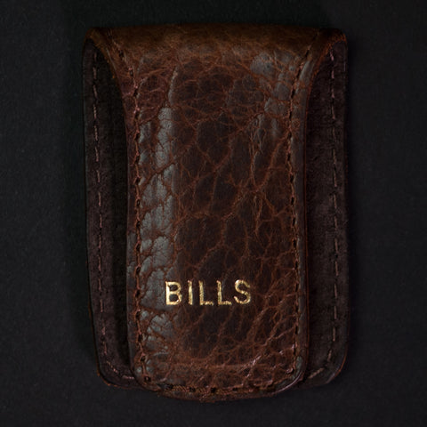 Coronado Leather Bison Leather Money Clip Walnut at The Lodge