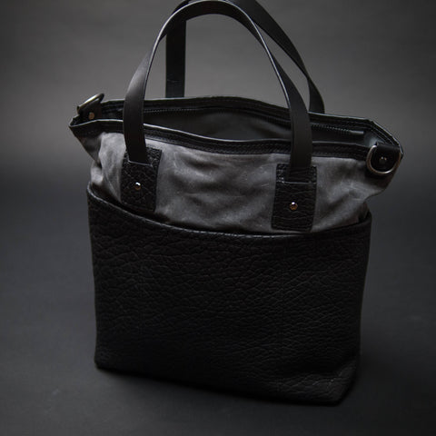 Coronado Leather Bison Tote Grey Black at The Lodge