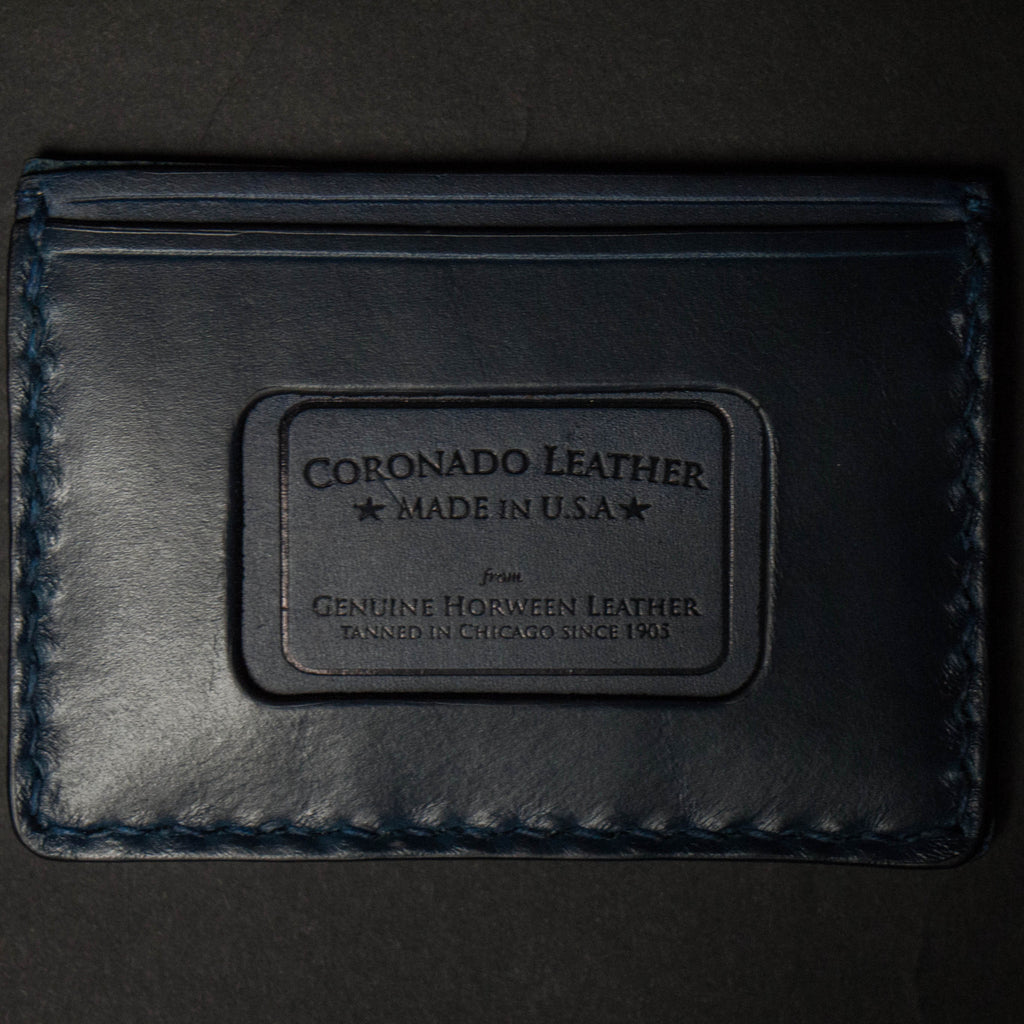 NAVY CORONADO CARD CASE WALLET HORWEEN LEATHER - THE LODGE  - 2