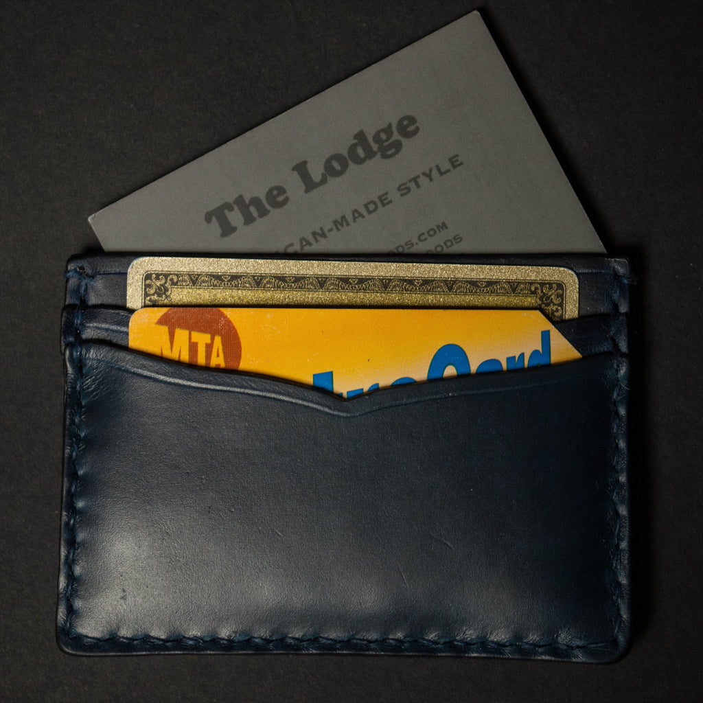 NAVY CORONADO CARD CASE WALLET HORWEEN LEATHER - THE LODGE  - 4