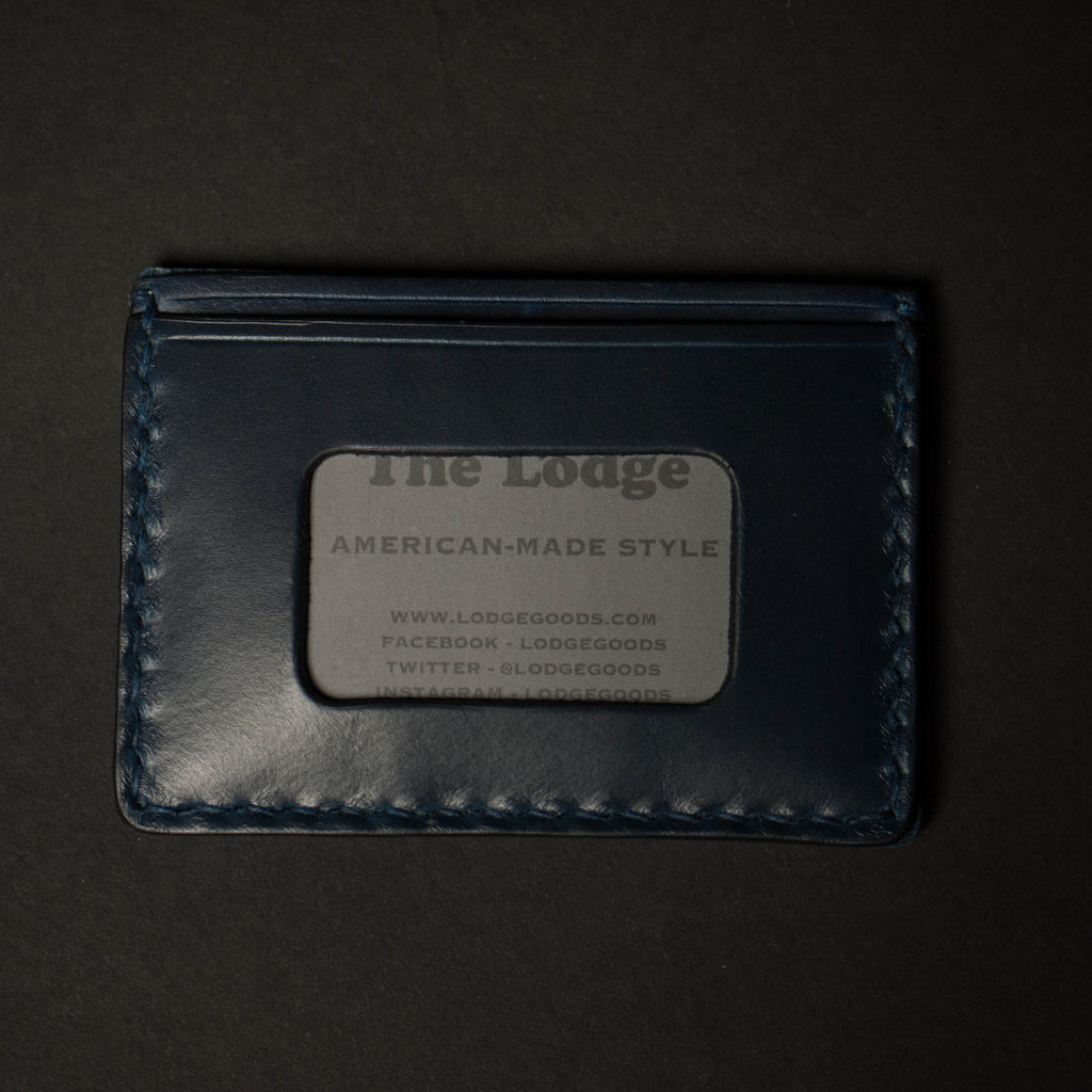 NAVY CORONADO CARD CASE WALLET HORWEEN LEATHER - THE LODGE  - 5