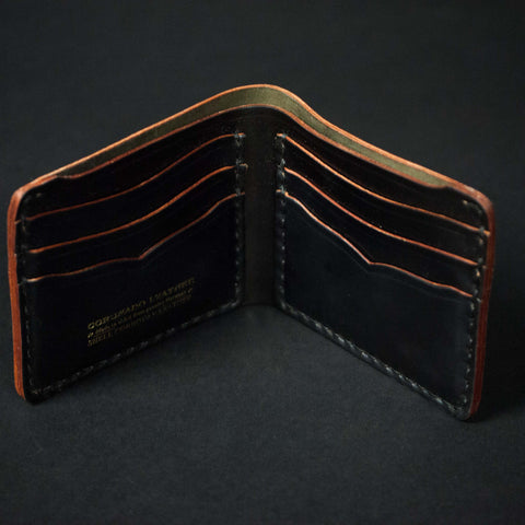 CORONADO SHELL CORDOVAN CARD BILLFOLD BLACK - THE LODGE  - 1