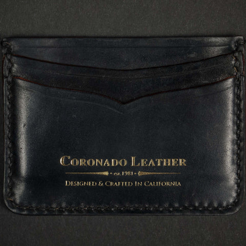 SHELL CORDOVAN ID CARD WALLET BLACK - THE LODGE  - 1