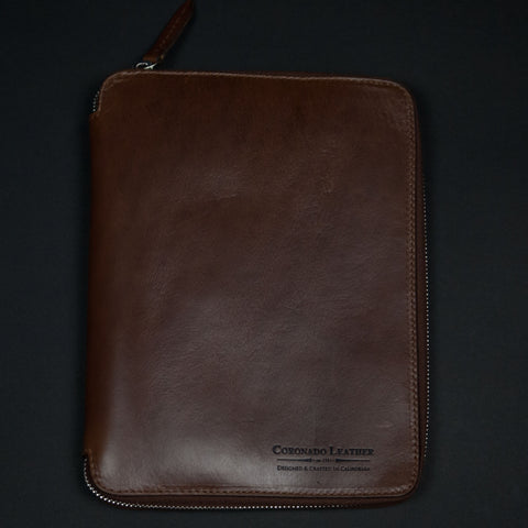 CORONADO METROPOLITAN HORWEEN LEATHER ZIP FOLIO BROWN IPAD MINI - THE LODGE  - 1