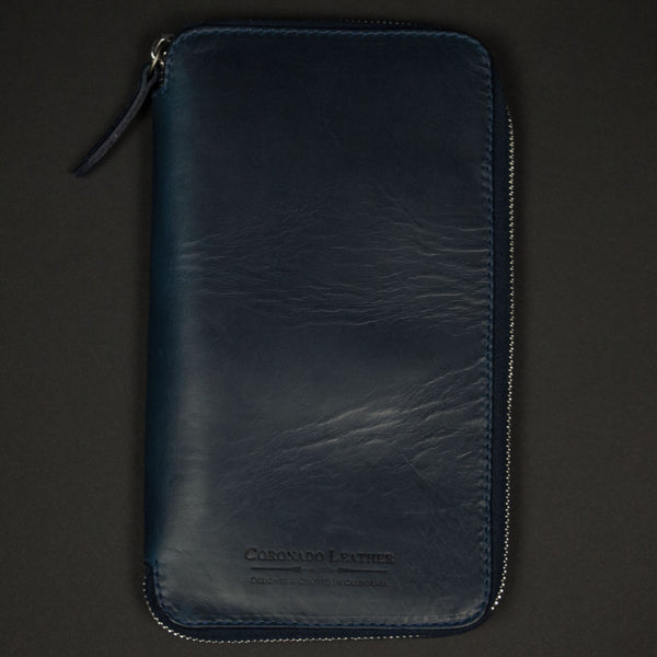 CORONADO METROPOLITAN HORWEEN LEATHER ZIP TRAVEL CASE NAVY - THE LODGE  - 1
