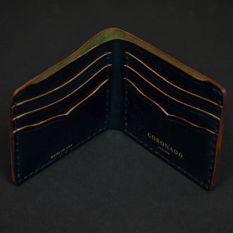 Coronado Leather Shell Cordovan Billfold Navy at The Lodge