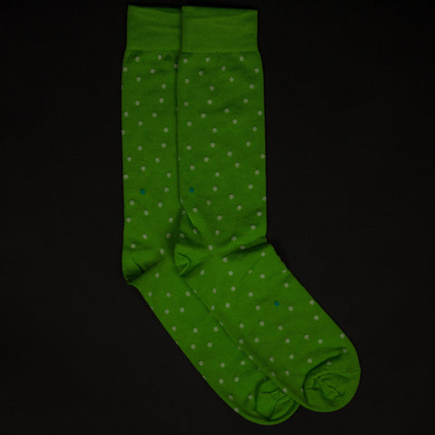 GREEN PIMA COTTON SPACE DOTS SOCKS - THE LODGE  - 1