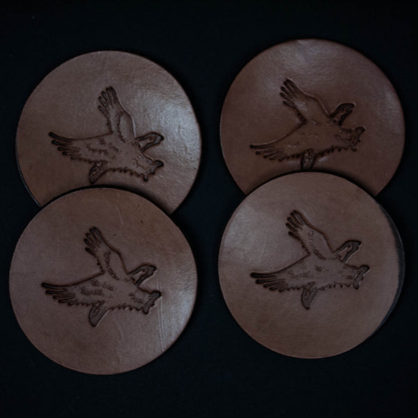 TOOLED LEATHER COASTERS EAGLE- SET OF 4 - THE LODGE
