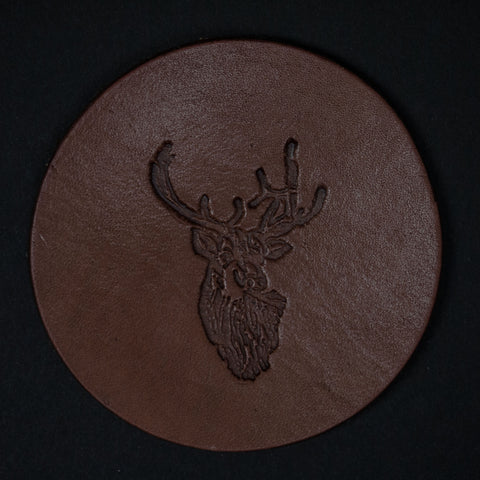 TOOLED LEATHER COASTERS ELK- SET OF 4 - THE LODGE  - 1