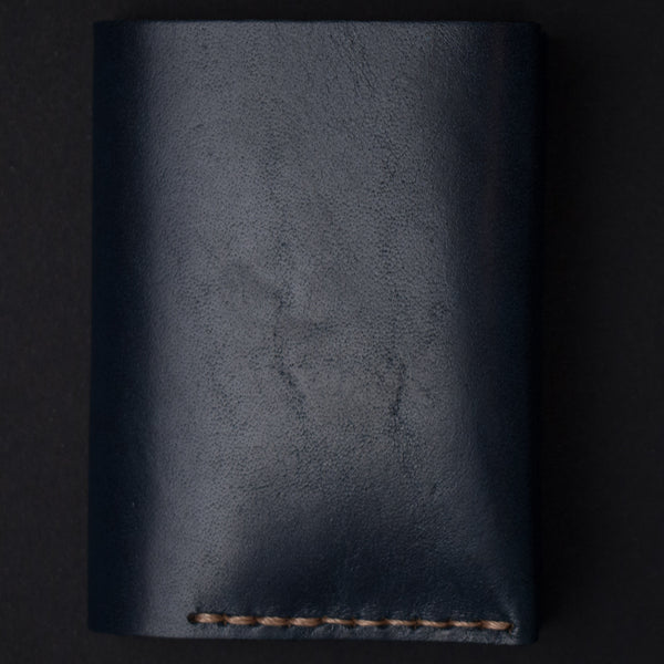 NAVY LEATHER #4 BI-FOLD CARD WALLET EZRA ARTHUR