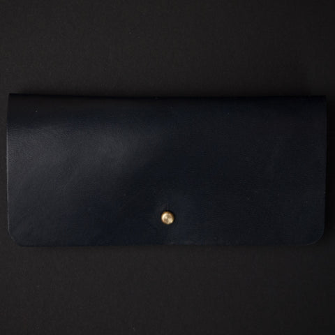 Ezra Arthur Navy Leather Sunglasses Case at The Lodge